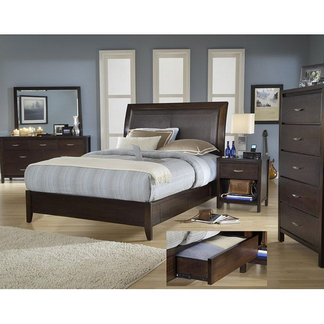 cool king size wood storage bed with nightstand and dresser
