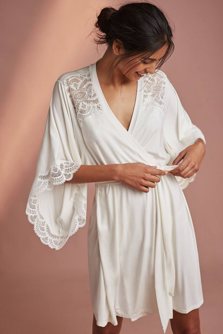 Perfect for layering over lingerie set.  Eberjey Marry Me Kimono Robe from Anthropologie $106