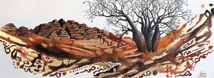 Kimberley Walkabout -  Watercolour, gold leaf and ochres on paper.