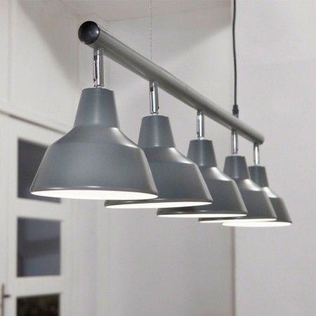 Grijze eettafel hanglamp metaal