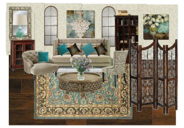 Teal and Brown Living room by tlchurcher | Olioboard