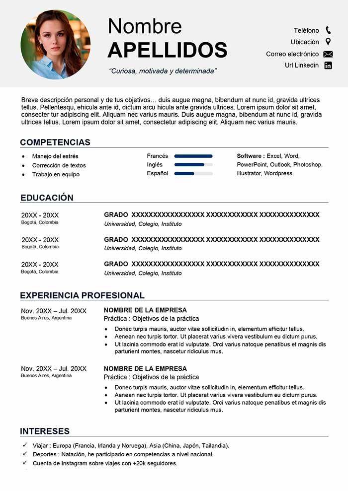 Descarga El Mejor Modelo De Curriculum Academico Para Estudiante Para Master Para Intercambio Curriculum Ejemplo Formato De Curriculum Vitae Hoja De Vida