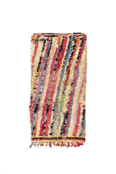 """Zanzibar. 3'8"""" x 7' Vintage Boucherouite Rug – Indigo and Lavender"""