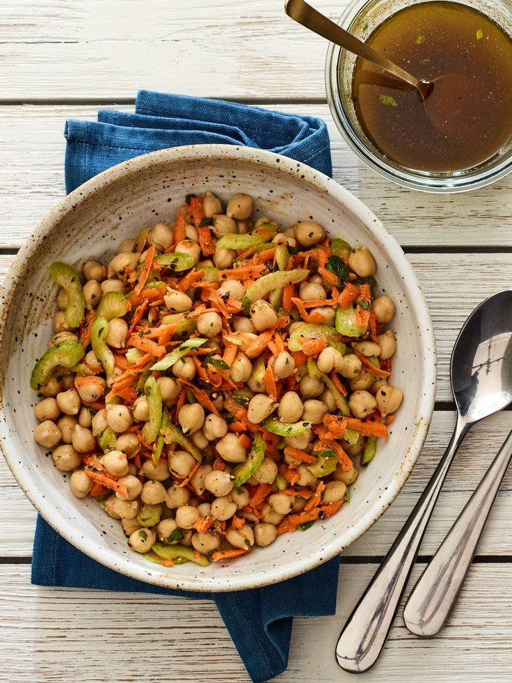 Check out this bright and colorful 3 ingredient chickpea salad recipe! Easy and quick to put together.