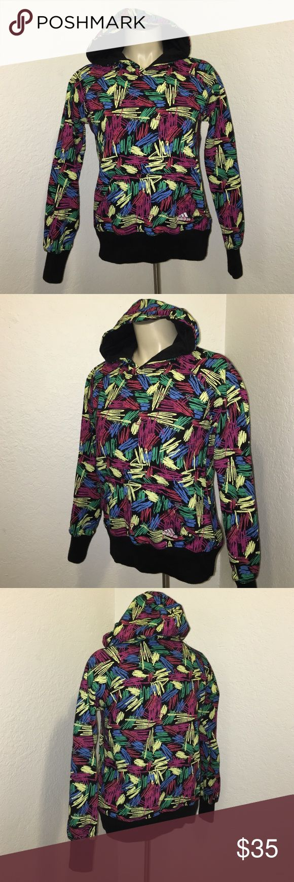 Adidas Black Scribble Print Hoodie Sweatshirt Super adorable adidas scribble print sweater hoodie. Size small. One Front pocket. Chic and stylish. Very warm and comfy! In great condition. Adidas Tops Sweatshirts & Hoodies