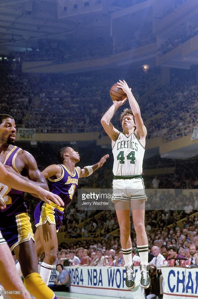 NBA Finals: Boston Celtics Danny Ainge (44) in action, taking shot vs Los Angeles Lakers Byron Scott (4). Game 5. Boston, MA 6/8/1984