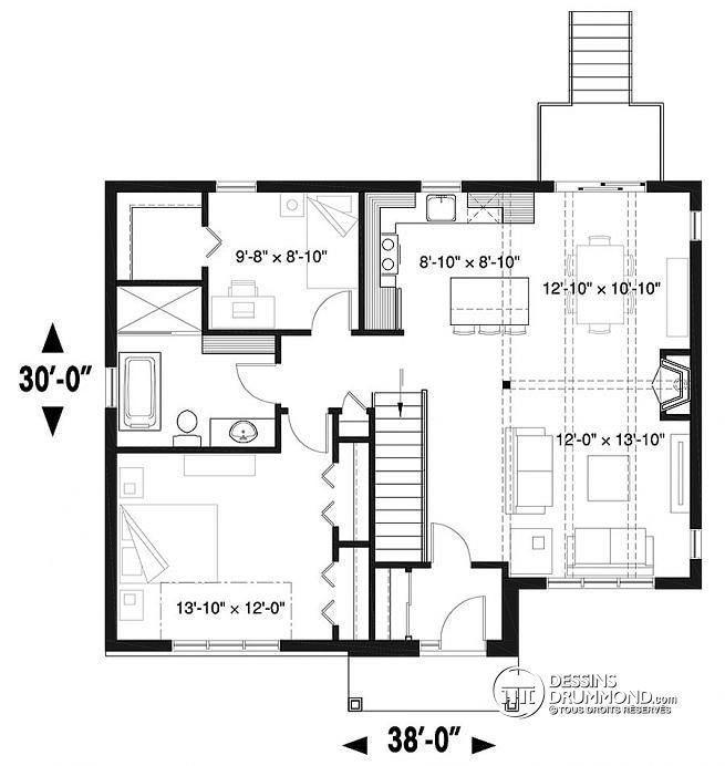 Plan de Rez-de-chaussée Modèle moderne rustique avec 2 chambres et proposition d'aménagement ...