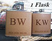 Set of 1 Custom Engraved Monogram Flask with Two Lines of Engraving /Great Boyfriend, Husband, Groom, Best man Gift // Groomsmen Gift Ideas