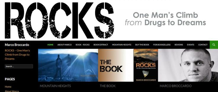 Screenshot for the website about the book ROCKS - One Man's Climb from Drugs to Dreams