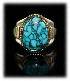 Blue Wind Turquoise and 14k yellow gold ring by John Hartman of Durango Silver Company