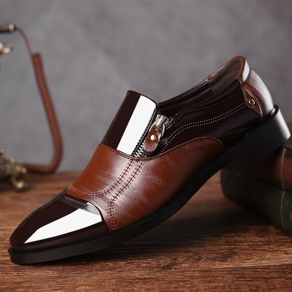 Vintage Design Men S Casual Leather Shoes Pointed Toe Shoes Black Brown Wish In 2020 Dress Shoes Men Formal Shoes For Men Slip On Dress Shoes