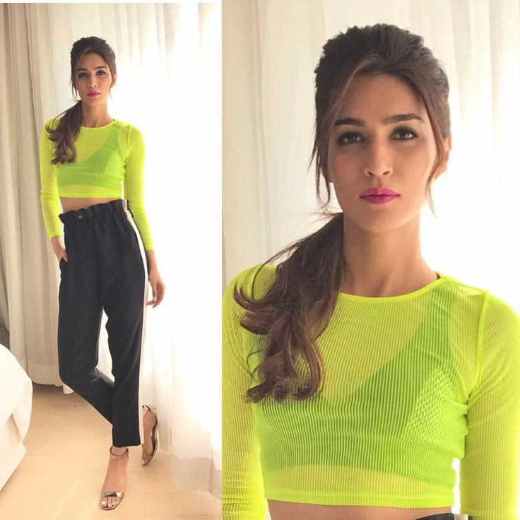 """Kriti Sanon in the seasons neon trend for #Raabta promotions in Delhi @Bollywoodstylefile ❤❤❤ . Top…"""