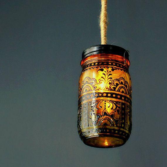 Hanging Mason Jar Lantern Blackened Henna Patterns by LITdecor