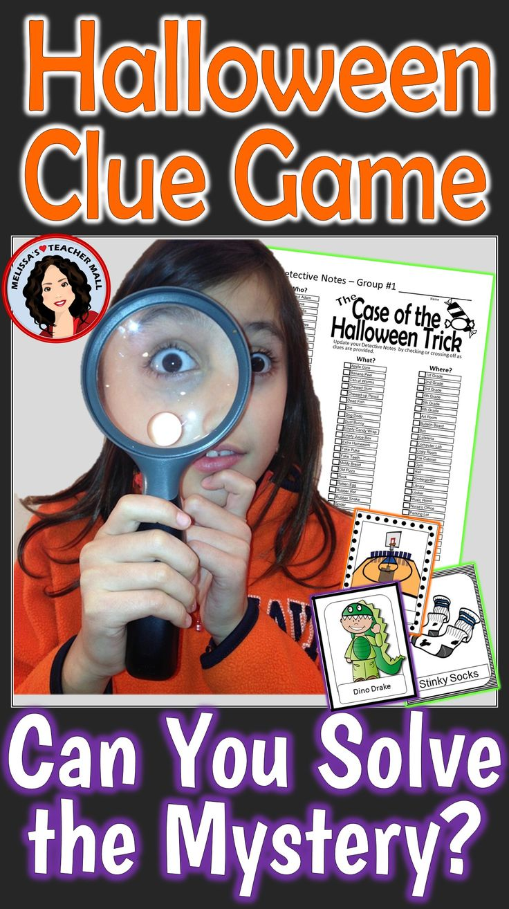 Mystery Game Activity perfect for your Holiday Party or as a fun Friday afternoon treat. Students use the detective skills of listening and the process of elimination to solve the mystery of the Halloween Trick. Perfect whole class game, let the fun begin.