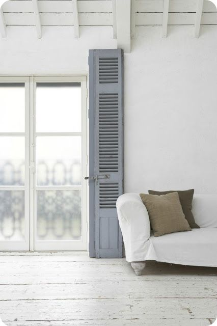 Space, White & GreyDecor, French Doors, Bedrooms Design, Interiors, Living Room, Painting Wood Floors, Shutters, Style File, White Room
