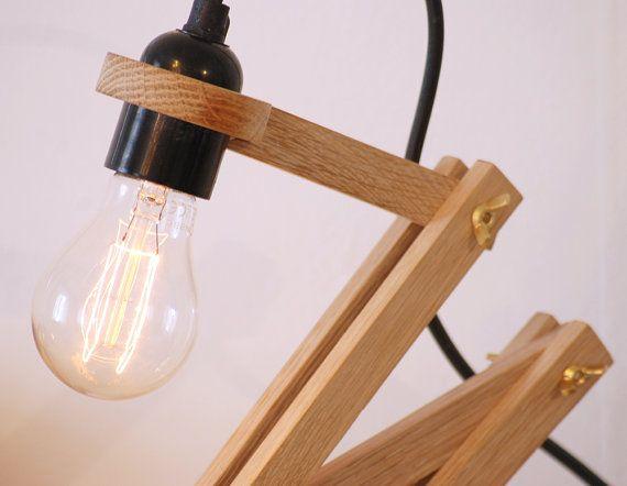 Lámpara de sobremesa madera y cemento por MyHumbleCorner en Etsy