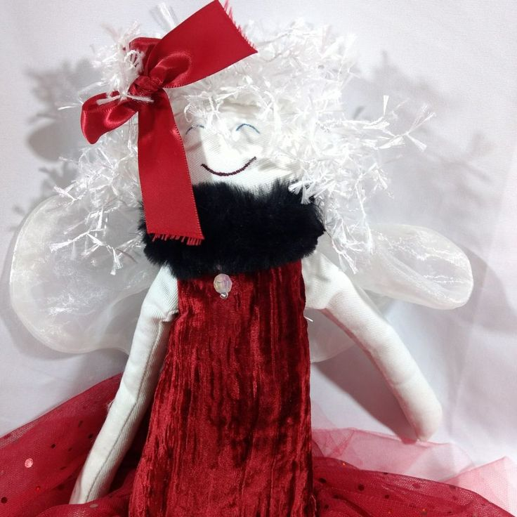 Woof and Poof Christmas Angel Shelf Sitter 22 Inches 2008 Red Tutu Skirt