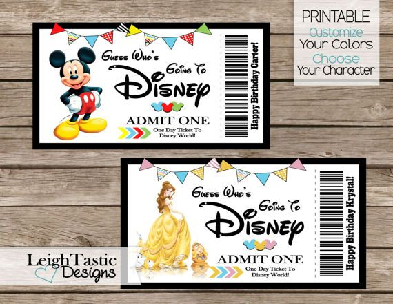 Printable Disney Ticket Surprise Disney Ticket Choose Your
