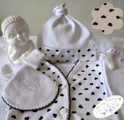 ajuar bebe 5 piezas set nacimiento en caja 100% algodón