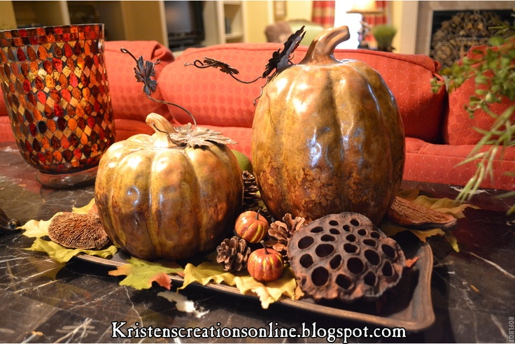 Fall harvest display with a Pier 1 Amber Mosaic Hurricane