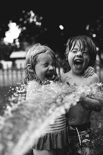 playing in the water hose