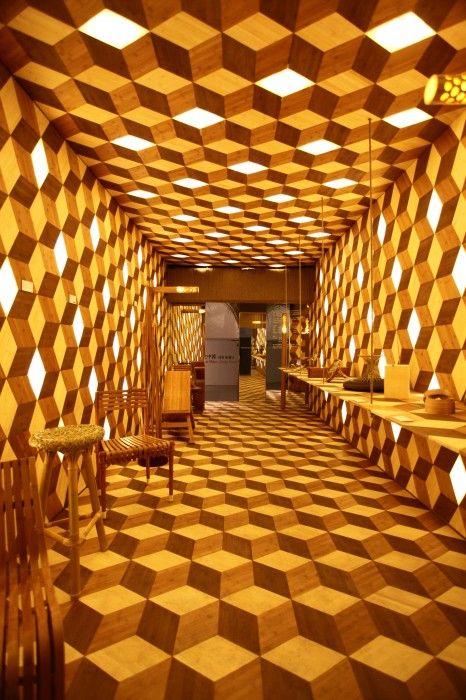 LED Bamboo jaff dah yue iluminacion en muro y plafon con leds
