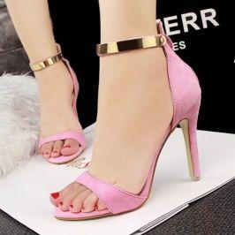 High Quality European Simple Scrub Back Zipper Sandals Pink pas cher