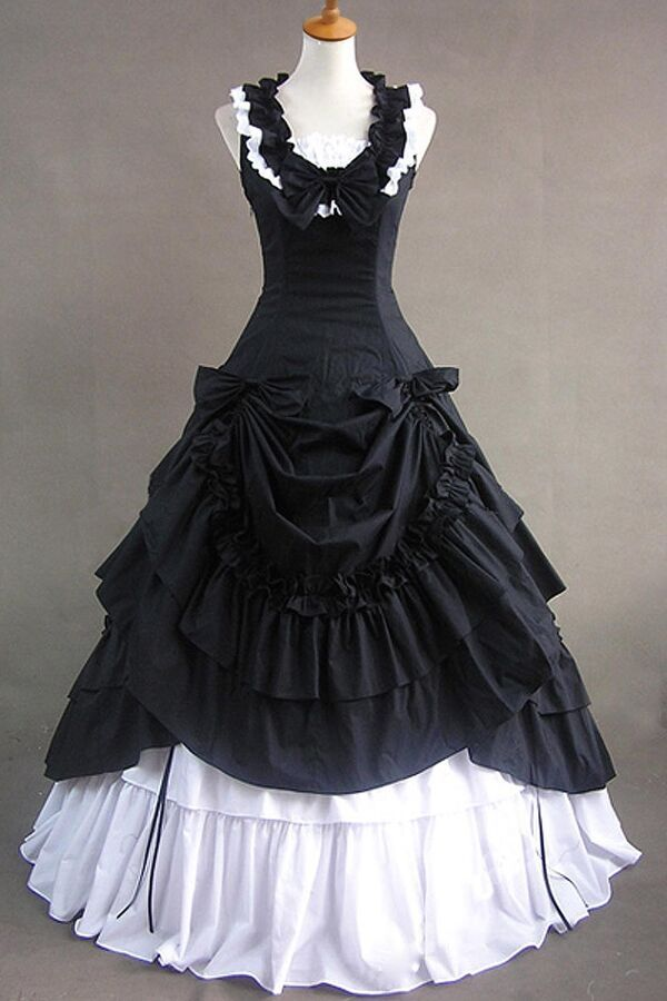 6f6e660d986d0 Black Sleeveless Cotton Bow Lolita Christmas Fancy Dress Cosplay Party  Costume#Bow#Lolita#Cotton
