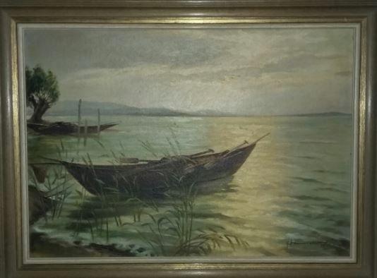Boot am See, Ölbild bei U. Kretschmer