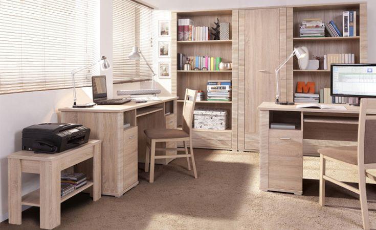 Biuro i gabinet GRESS, dąb sonoma  #meble #dom #wnetrza #wystrój #mieszkanie