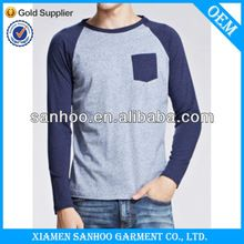 New Style Pocket Baseball T Shirt With Raglan Long Sleeve