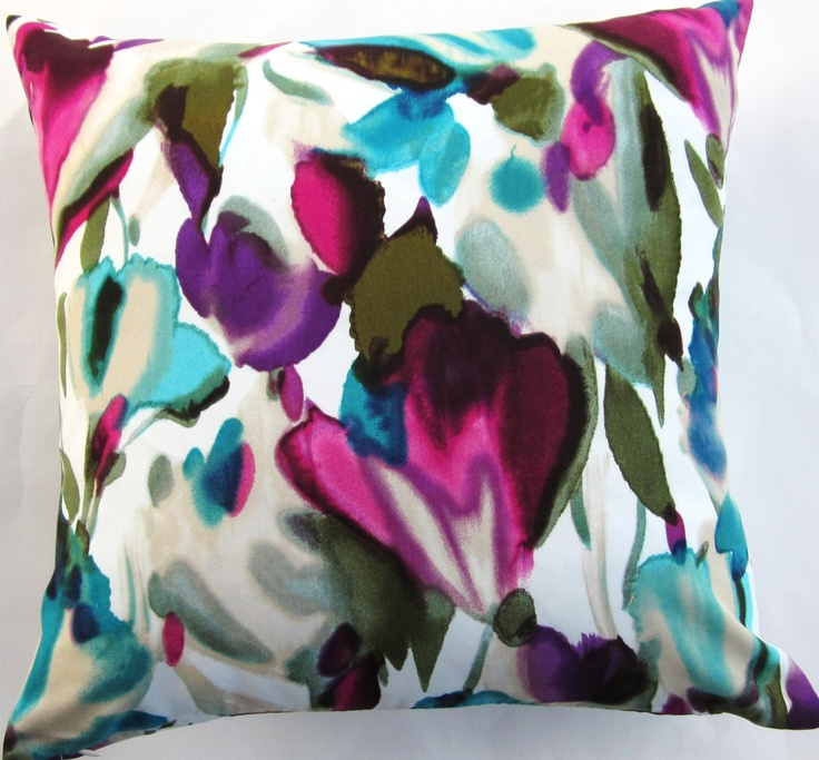 Magenta and Teal Pillow Cover -- White Cushion Cover with Turquoise Magenta Purple and Teal -- 16 x 16. $19.99, via Etsy.