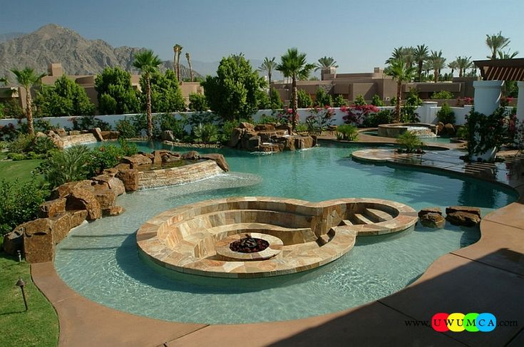 Outdoor / Gardening:Create Outdoor Lounge With Sunken Seating Area Ideas Build Conversation Pits Sunken Sitting Areas In Pool Garden Outside Decor Design Large Lagoon Pool With A Lovely Lounge And Fire Pit In The Middle Elevate The Style Quotient Of Your Outdoor Lounge With Sunken Seating Area