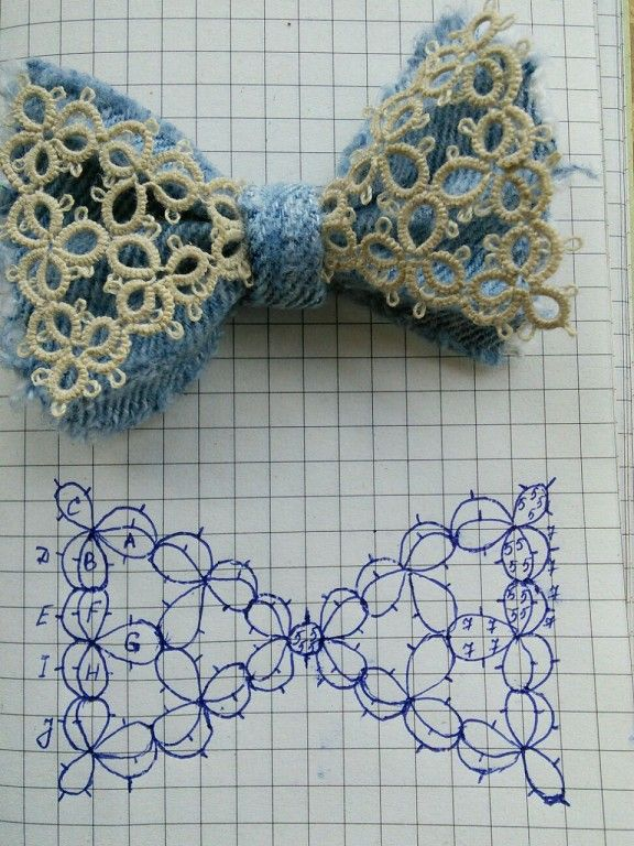 Tatted Bow. With pattern diagram Одноклассники