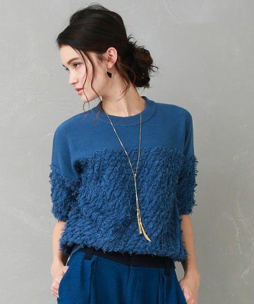 UNITED TOKYO WOMENS(ユナイテッドトウキョウウィメンズ)のハーフスリーブフリンジニット(ニット/セーター)|ブルー
