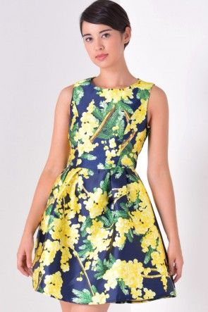 June Printed Tulip Dress in Yellow