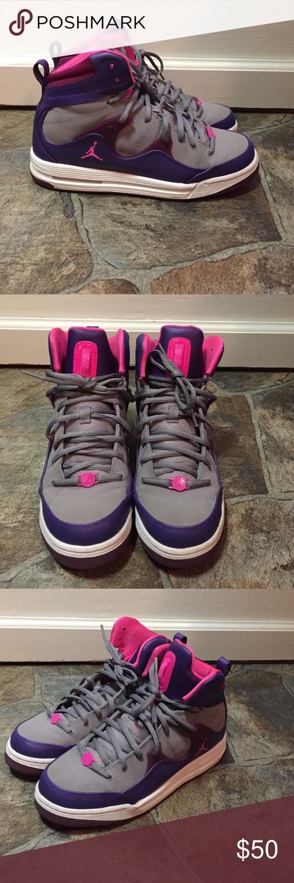 Air Jordan tennis shoes In perfect condition. Nothing wrong with them. Only worn maybe twice. Girls size 7. Jordan Shoes Sneakers