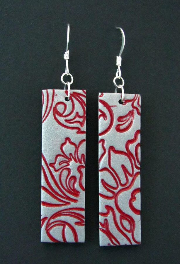 Polymer Clay Jewelry Earrings Dangle Hand Stamped Flower Earrings Asian Inspired
