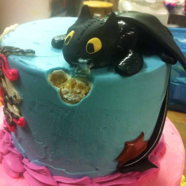 One of many cool cakes.The dragon Toothless, from the movie How to Train your Dragon<--haha this is so accurate