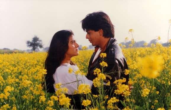 "KAJOL AND SHAH RUKH KHAN As Simran and Raj in ""Dilwale Dulhania Le Jayenge"" (1995)"