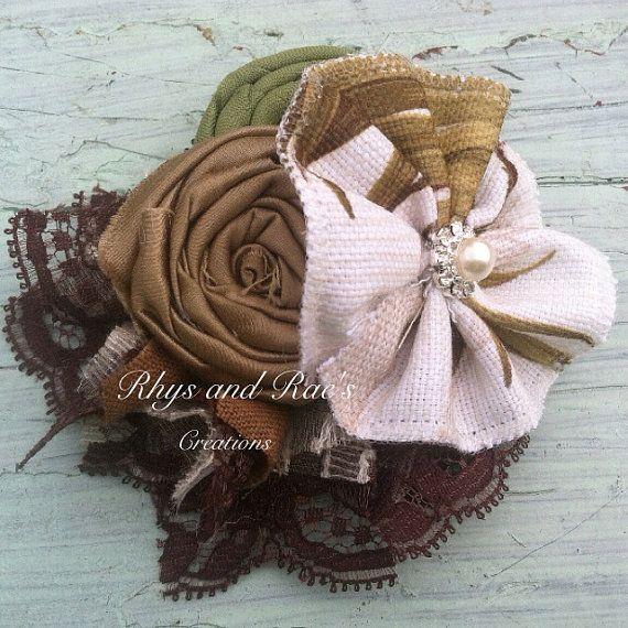 Brown, Ivory, Olive Green, Rosette Fabric Flower Headband, Yo Yo Flower, Palm Tree, Tropical Forest Inspired, Flower Brooch, Hair Clip on Etsy, $15.25