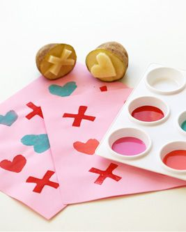 Potato stamps: Crafts For Kids, Valentines Crafts, Tic Tac Toe, Crafts Kids, Kids Crafts, Valentines Day Crafts, Valentines Cards, Potatoes Stamps, Pottery Barns