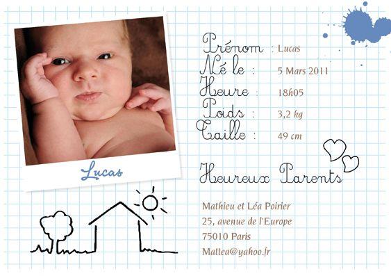 A l'école des bébés garçon - Faire part de naissance avec photo pour garçon. Photo sur feuille quadrillée avec dessin enfantin, petits cœurs, taches de peinture bleue.