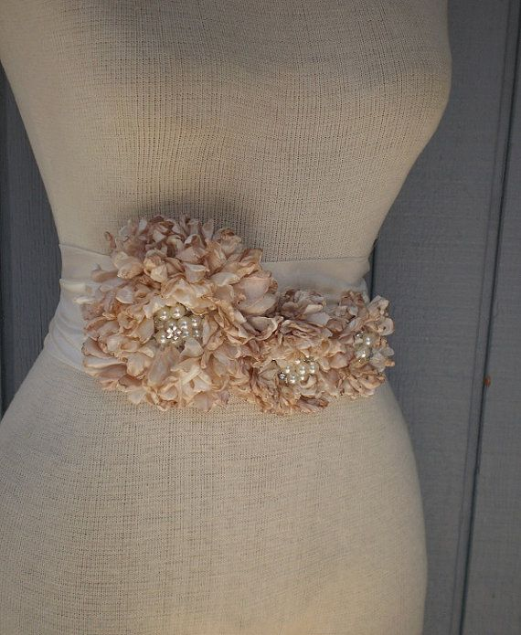 Wedding Bridal Sash With Three Handmade Flowers by denizy03, $75.00