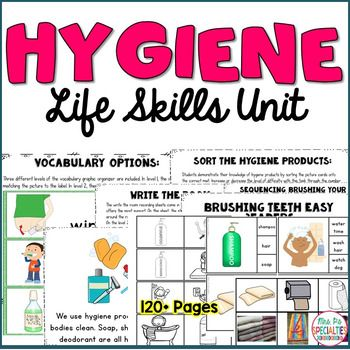 This thematic unit is designed to enhance and further your student's life skills and understanding of hygiene . Target crucial life skills with these reading, vocabulary and work tasks. ***HUGE savings by buying the Life Skills Unit BUNDLE***The activities include multiple levels to save you time and help you differentiate within your programs and groupings.Included:*Vocabulary Word Wall Cards (full color)*Vocabulary Graphic Organizers: 3 levels*Full Page Book about hygiene*Full Page & Co...