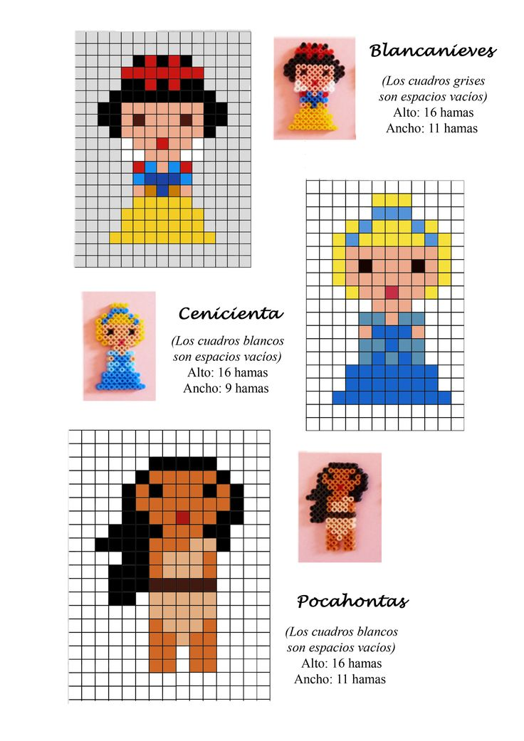 Disney Princess (Snow White, Cinderella, Pocahontas) hama beads pattern