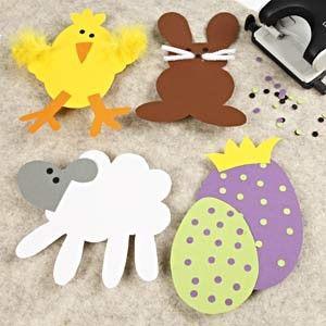 paasbeestjes gemaakt van papier. Print via de link de patronen uit, neem die over op het papier. Knip ze uit en versieren maar!