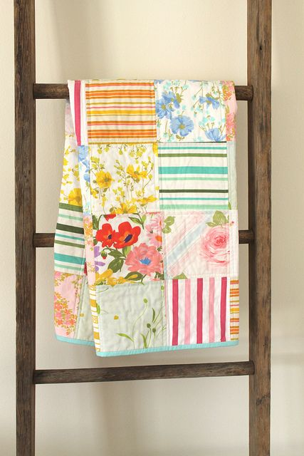 Florals with stripes. Cute fabrics, simple pattern.
