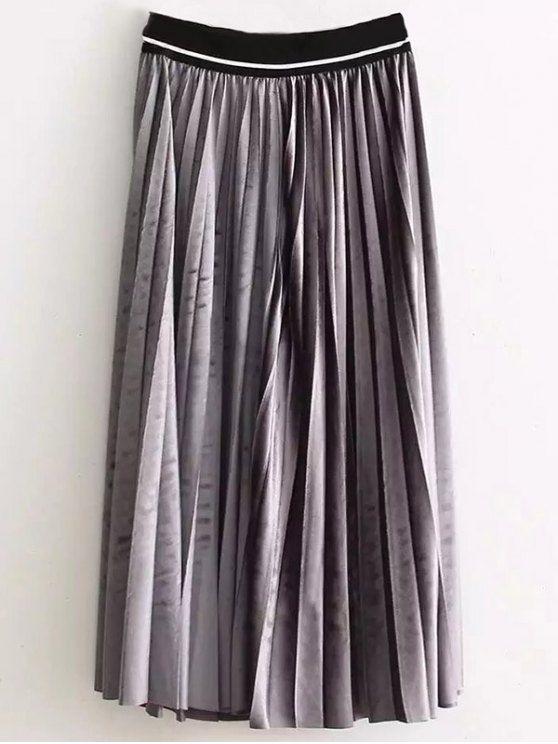 High Waist Pleated Velour Skirt - GRAY ONE SIZE