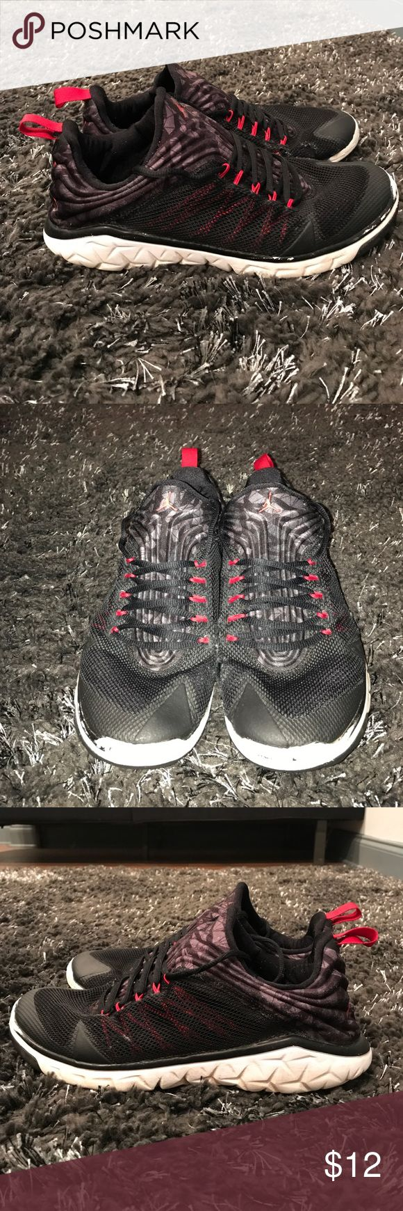 Jordan Flight Flex Black scuffed off, hole on left shoe near toe (all damages are pictures) Jordan Shoes Sneakers